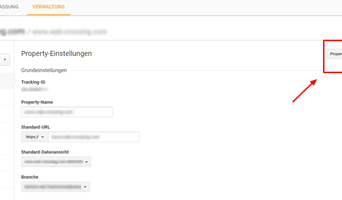 Properties in Google Analytics verschieben